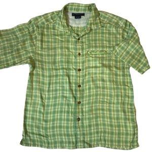 ExOfficio Short Sleeve Green Plaid Hiking Shirt M
